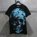 PHILIPP PLEIN (필립플레인) 면 100% 블랙 컬러 블루 스컬 로고 프린팅 남성용 반팔 티셔츠 [인천점]
