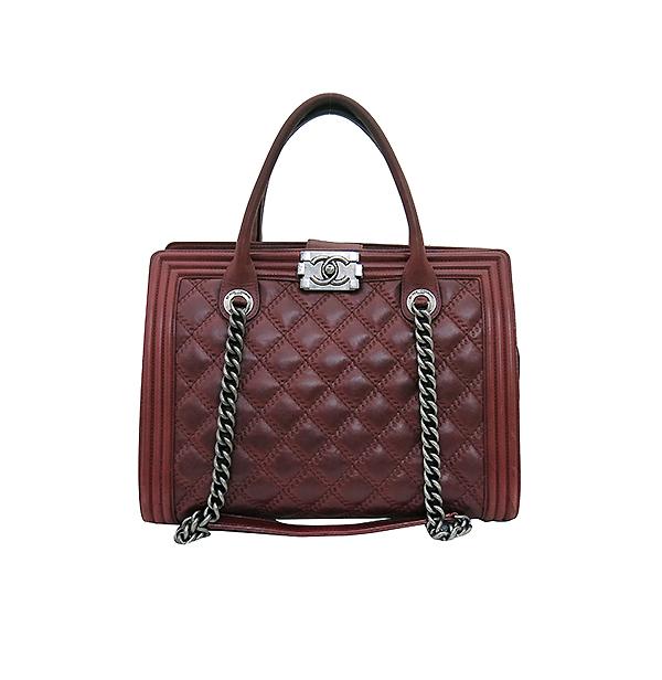 Chanel(샤넬) A66385 빈티지 은장 로고 장식 보이 버건디 컬러 2WAY [부산센텀본점]