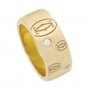 Cartier(까르띠에) 18K 골드 다이아 세팅 해피버스데이 더블 C 로고 7MM 반지 [강남본점]