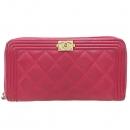 Chanel(샤넬) A80288 핑크 컬러 램스킨 보이샤넬 짚업 장지갑 [강남본점]