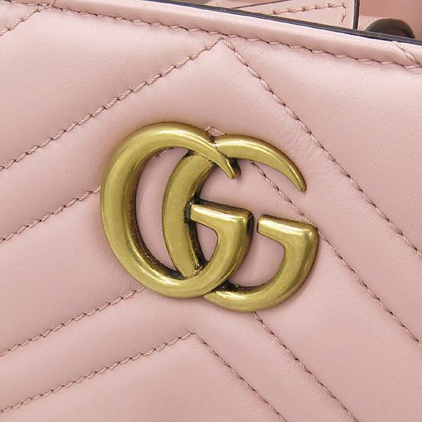 Gucci(구찌) 448054 GG 로고 장식 마몬트 핑크 마틀라세 쉐브론 레더 토트백 + 숄더 스트랩 2way [강남본점] 이미지4 - 고이비토 중고명품