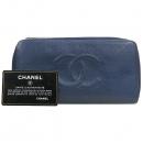 Chanel(샤넬) COCO 로고 블루 캐비어스킨 집업 장지갑 [강남본점]