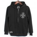 Chrome Hearts(크롬하츠) 408011885 블랙 컬러 면 혼방 크로스 프린팅 후드 짚업 티셔츠 [강남본점]