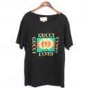 Gucci(구찌) 프린팅 로고 블랙 여성용 반팔 티셔츠 [강남본점]