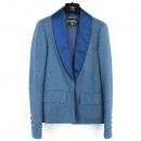 Chanel(샤넬) P55565V41972 100% 커튼 블루 실크 카라 장식 자켓 [대전본점]