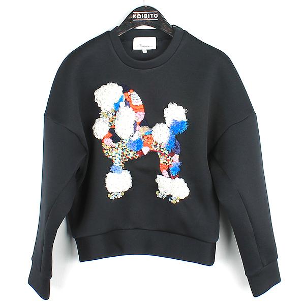 3.1 PHILLIP LIM(필립림) 블랙 네오프렌 패치 스팽글 장식 여성용 맨투맨 티셔츠 [강남본점]