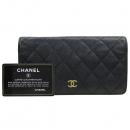 Chanel(샤넬) A31509 캐비어 스킨 블랙컬러 금장로고 타임리스 클래식 플랩 장지갑 [강남본점]