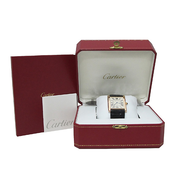 Cartier(까르띠에) W1560017 핑크 골드 금통 탱크 루이 XL 사이즈 가죽밴드 남성용 수동식 시계 [대구동성로점]