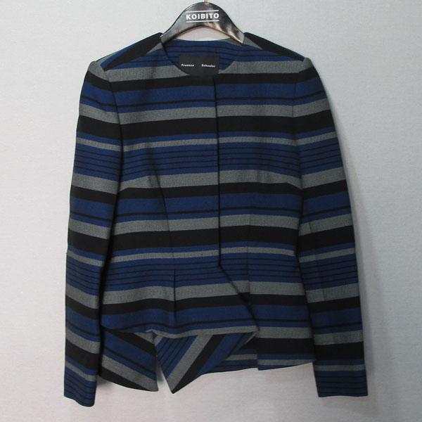 PROENZA SCHOULER(프로엔자슐러) 블루 블랙 컬러 면 혼방 여성용 스트라이프 자켓 [대구반월당본점]