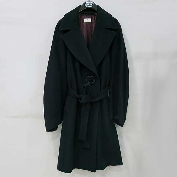 Aigner(아이그너) 캐시미어 100% 블랙 컬러 여성용 코트 + 벨트 SET [부산센텀본점]