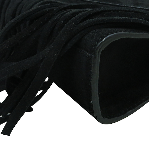 YSL(입생로랑) 381668 블랙 스웨이드 레더 프린지 금장 모노그램 YSL 장식 체인 숄더 겸 크로스백 [인천점] 이미지5 - 고이비토 중고명품