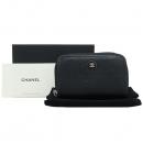 Chanel(샤넬) 블랙 카프스킨 COCO 블랙 로고 집엎 동전지갑 [강남본점]