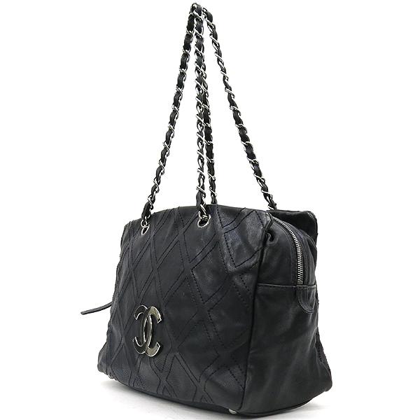 Chanel(샤넬) COCO로고 장식 블랙 레더 스티치 은장 체인 숄더백 [강남본점] 이미지2 - 고이비토 중고명품