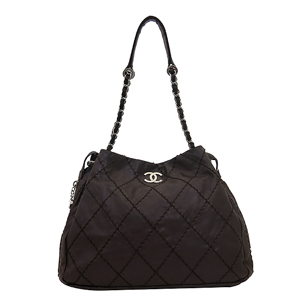 Chanel(샤넬) 브라운 레더 은장로고 와일드스티치  측면지퍼 숄더백 [부산센텀본점]