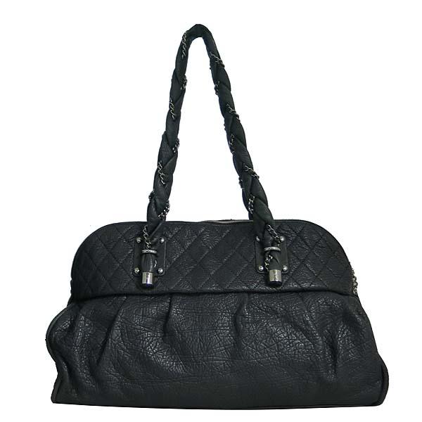 Chanel(샤넬) 블랙 퀄팅 레더 COCO 로고 참 장식 체인 숄더백 [동대문점]