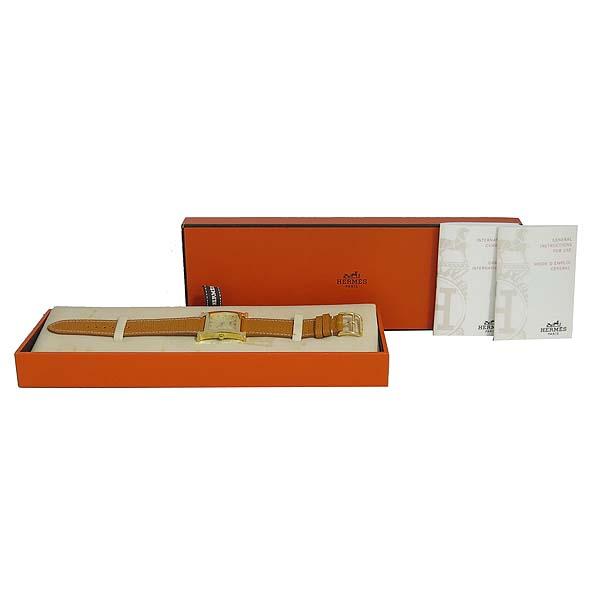 Hermes(에르메스) HH1.501 금장 H아워 가죽밴드 쿼츠 남성용 시계 [동대문점]