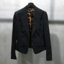D&G(돌체&가바나) 모 혼방 블랙 컬러 피크드 카라 단추 장식 오픈형 여성용 자켓 [인천점]