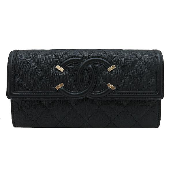 Chanel(샤넬) A84448Y83371 COCO 빈티지 로고 블랙 캐비어 스킨 장지갑 [인천점] 이미지2 - 고이비토 중고명품