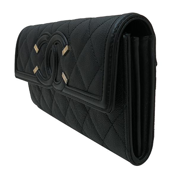 Chanel(샤넬) A84448Y83371 COCO 빈티지 로고 블랙 캐비어 스킨 장지갑 [인천점] 이미지3 - 고이비토 중고명품