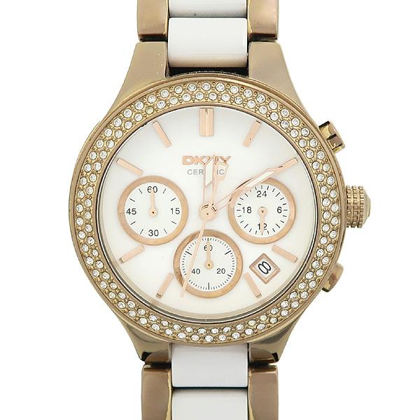 DKNY(도나카란) NY 8183 베젤 큐빅 장식 금장 세라믹 여성용 시계 [강남본점]