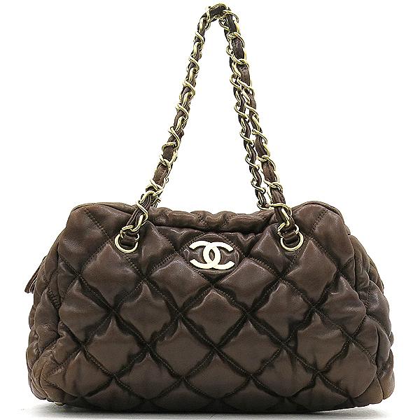 Chanel(샤넬) 다크브라운컬러 레더 퀼팅 버블 스티치 골드메탈 디테일 체인 토트백 [강남본점]