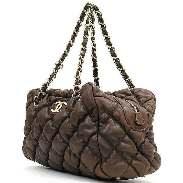 Chanel(샤넬) 다크브라운컬러 레더 퀼팅 버블 스티치 골드메탈 디테일 체인 토트백 [강남본점] 이미지2 - 고이비토 중고명품