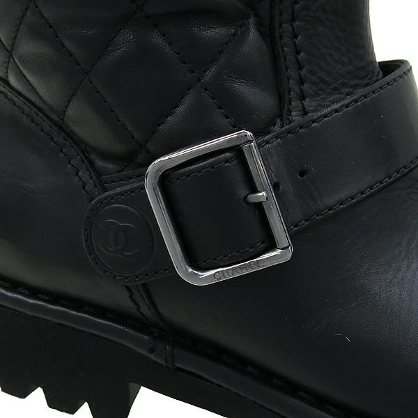 Chanel(샤넬) 블랙컬러 레더 퀼팅 니트 혼방 핑 버클 디테일 롱 여성용 부츠 [강남본점] 이미지5 - 고이비토 중고명품