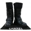 Chanel(샤넬) 블랙컬러 레더 퀼팅 니트 혼방 핑 버클 디테일 롱 여성용 부츠 [강남본점]