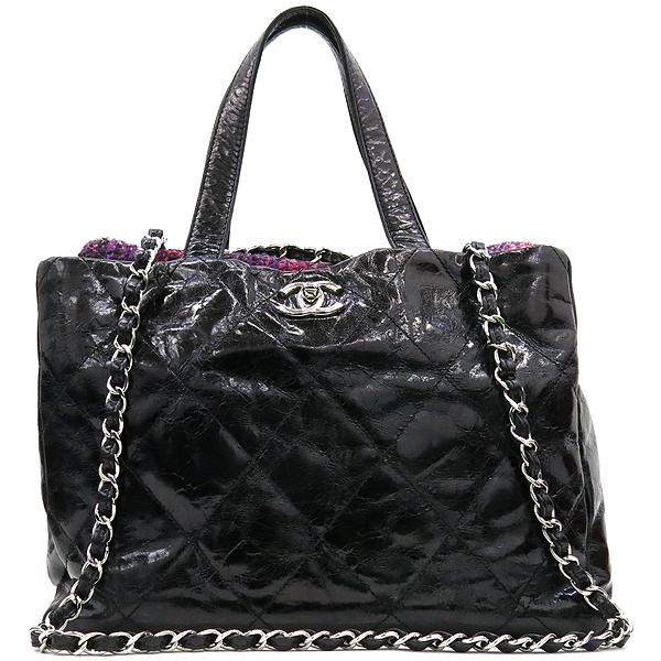 Chanel(샤넬) 빈티지 블랙 코팅 레더 퀼팅 은장로고 쇼퍼 토트백 + 체인숄더스트랩 2WAY [강남본점]