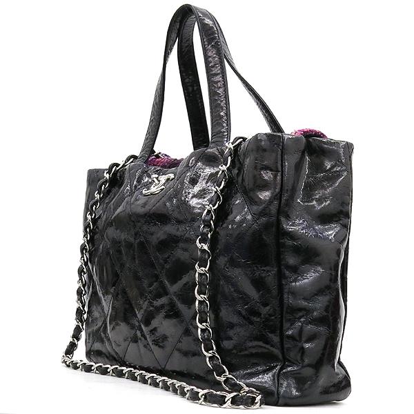 Chanel(샤넬) 빈티지 블랙 코팅 레더 퀼팅 은장로고 쇼퍼 토트백 + 체인숄더스트랩 2WAY [강남본점] 이미지2 - 고이비토 중고명품