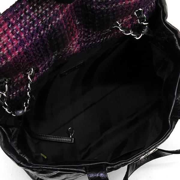 Chanel(샤넬) 빈티지 블랙 코팅 레더 퀼팅 은장로고 쇼퍼 토트백 + 체인숄더스트랩 2WAY [강남본점] 이미지4 - 고이비토 중고명품