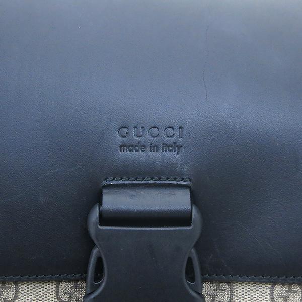 Gucci(구찌) 406369 GG로고 PVC 슈프림 캔버스 블랙 레더 투 포켓 백팩 [부산센텀본점]