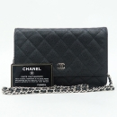 Chanel(샤넬) A33814Y01588C3906 캐비어스킨 블랙 컬러 WOC 월릿 온 체인 은장 로고 크로스백 [강남본점]