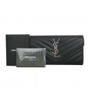 SAINT LAURENT PARIS(생로랑파리) 372264 블랙 레더 캐비어 은장 마트라쎄 모노그램 장지갑 [동대문점]
