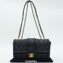 Chanel(샤넬) COCO로고 장식 블랙 램스킨 스티치 플랩 체인 숄더백 [강남본점]