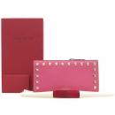 VALENTINO(발렌티노) PW2P0301 핑크 레더 락 스터드 금장로고 2단 장지갑 [강남본점]