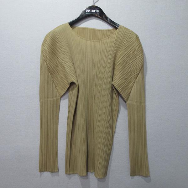 ISSEY MIYAKE(이세이 미야케) 골드 컬러 폴리에스터 여성용 긴팔 티셔츠 [대구반월당본점]