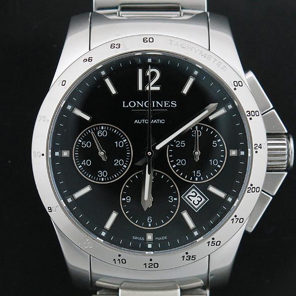 LONGINES(론진) L2.743.4 블랙 다이얼 Conquest (콘퀘스트) 데이트 크로노그래프 시스루백 스틸밴드 오토매틱 남성용 시계 [인천점]