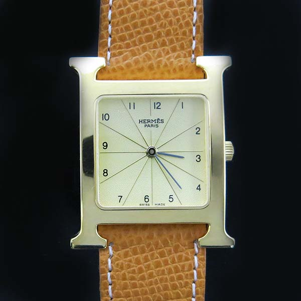 Hermes(에르메스) HH1.501 금장 H아워 가죽밴드 쿼츠 남성용 시계 [동대문점] 이미지2 - 고이비토 중고명품