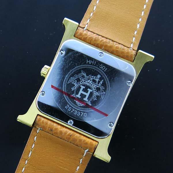 Hermes(에르메스) HH1.501 금장 H아워 가죽밴드 쿼츠 남성용 시계 [동대문점] 이미지5 - 고이비토 중고명품