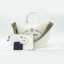 Prada(프라다) 1BG163 화이트 컬러 밀라도 토트백 + 숄더 스트랩 + 보조파우치 [강남본점]