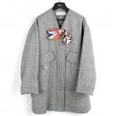 Dior(크리스챤디올) 7C21806UI358 울 + 비스코사 + 린넨 혼방 그레이 컬러 스카프 장식 여성용 코트 [강남본점]