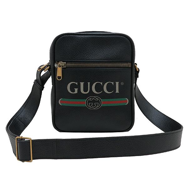 Gucci(구찌) 523591 블랙 레더 18FW 프리폴 컬렉션 웹 스트라이프 빈티지 프린트 로고 메신저 숄더 겸 크로스백 [인천점] 이미지2 - 고이비토 중고명품