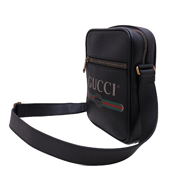 Gucci(구찌) 523591 블랙 레더 18FW 프리폴 컬렉션 웹 스트라이프 빈티지 프린트 로고 메신저 숄더 겸 크로스백 [인천점] 이미지3 - 고이비토 중고명품