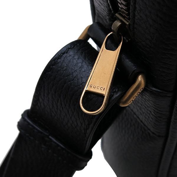 Gucci(구찌) 523591 블랙 레더 18FW 프리폴 컬렉션 웹 스트라이프 빈티지 프린트 로고 메신저 숄더 겸 크로스백 [인천점] 이미지4 - 고이비토 중고명품