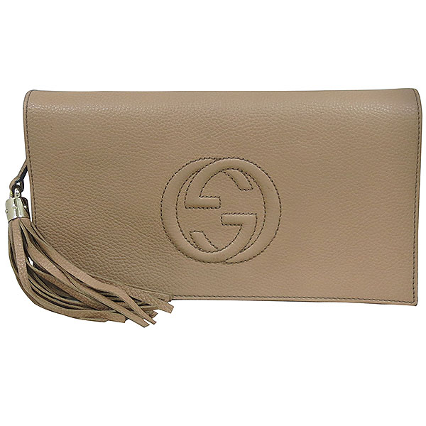 Gucci(구찌) 336753 브라운 레더 인터로킹 소호 태슬장식 플랩 클러치 [대구동성로점]