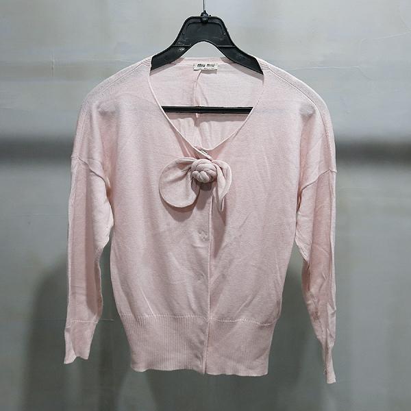 MiuMiu(미우미우) 캐시미어 혼방 핑크 컬러 가디건 [인천점]