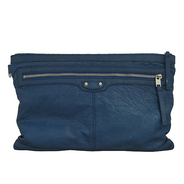 Balenciaga(발렌시아가) 273023 블루 레더 클래식 모터 클립 라지 클러치백 [동대문점]