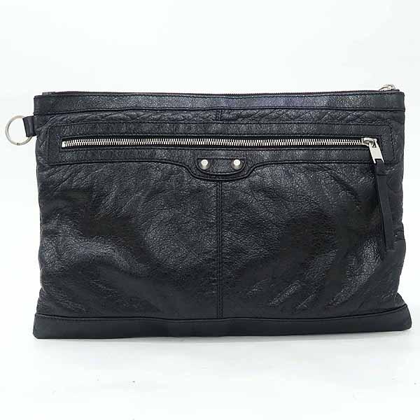 Balenciaga(발렌시아가) 273023 블랙 레더 클래식 모터 클립 라지 클러치백 [강남본점]