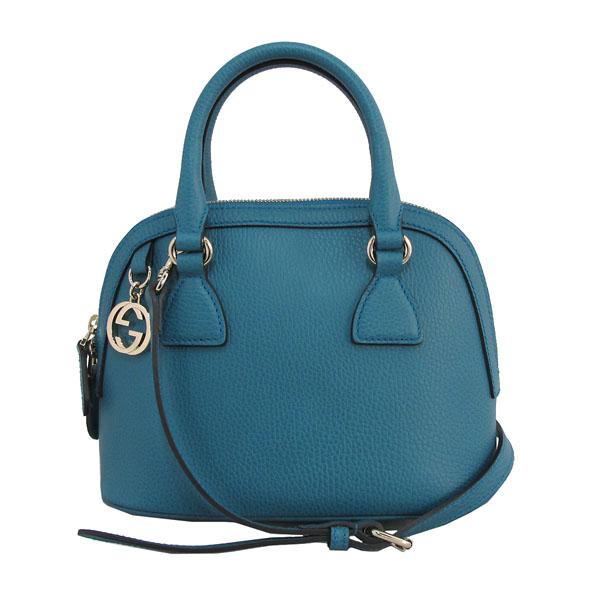 Gucci(구찌) 449661 코발트 블루 컬러 레더 인터로킹 G 참 장식 MINI DORM (미니 돔) 토트백 + 숄더스트랩 [대구반월당본점]